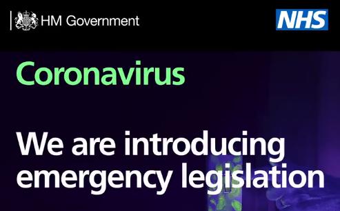 Coronavirus Update - Emergency Legislation Put Before Parliament