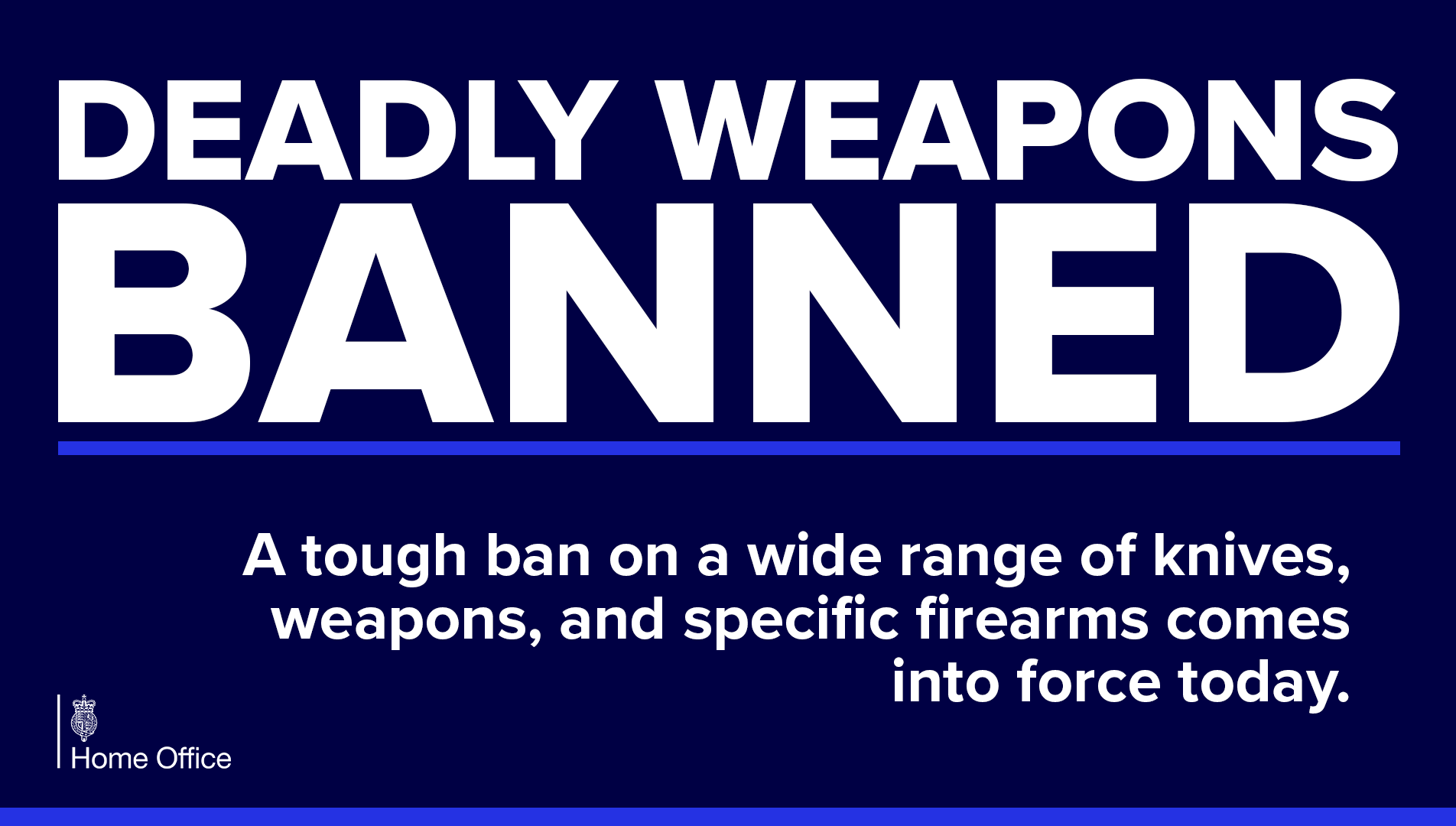 Ban On Knives, Firearms And Offensive Weapons Comes Into Force